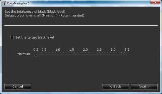ColorNavigator Schritt 8: Set target blacklevel