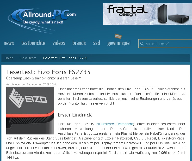 09/2016 Lesertest powered by Allround-PC